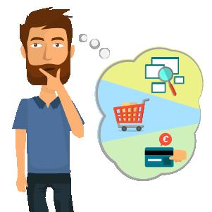 Illustrazione di ragazzo che pensa di aprire un e-commerce